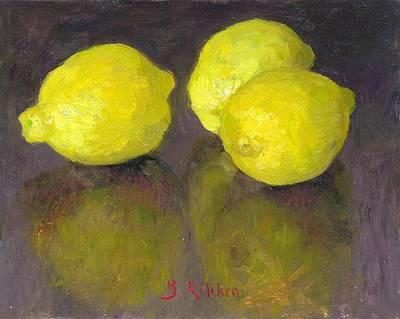 Painting - Three Lemons by Ben Rikken