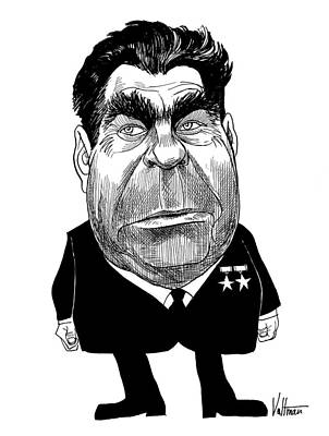 Drawing - Leonid Brezhnev Caricature by Edmund Valtman
