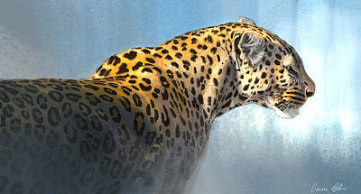 Spot Digital Art - Leopard by Aaron Blaise