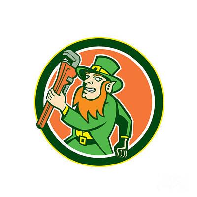 Irish Folklore Digital Art - Leprechaun Plumber Wrench Running Circle by Aloysius Patrimonio