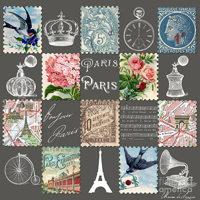 French Map Digital Art - Les Timbres 2 by Marion De Lauzun