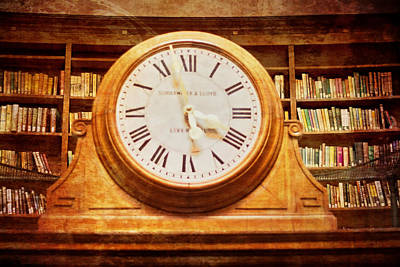 Time Stack Photograph - Library Clock by Georgia Fowler