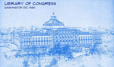 Library Mixed Media - Library Of Congress Washington Dc 1902 Blueprint by MotionAge Designs