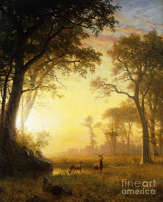 Riverbank Painting - Light In The Forest by Albert Bierstadt