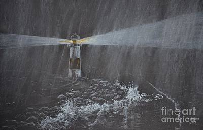 Lighthouse Drawing - Light In The Storm by David Swope