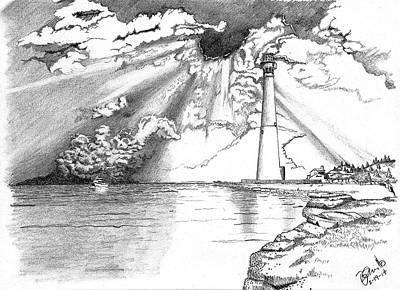 Thunderhead Drawing - Lighthouse by Andrew Cravello