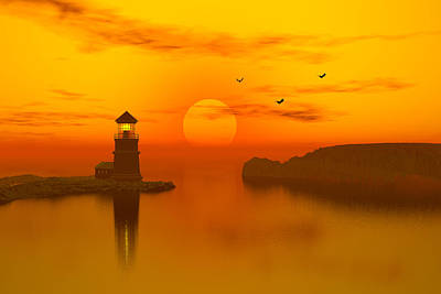 Ocean Front Landscape Digital Art - Lighthouse At Sunset by John Junek