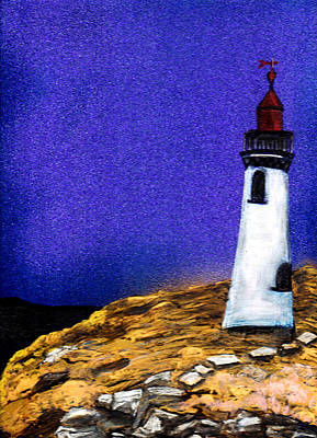 New England Lighthouse Painting - Lighthouse by Deb Wolf