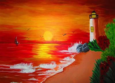 Painting - Lighthouse by Haleema Nuredeen