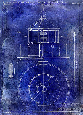 Lighthouse Lantern Lense Order Blueprint  Art Print by Jon Neidert