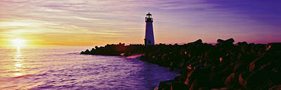 Lighthouse On The Coast At Dusk, Walton Art Print by Panoramic Images