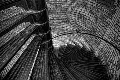 Lighthouse Stairs - Black And White Art Print by Peter Tellone