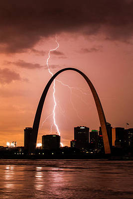 Jefferson National Expansion Memorial Photograph - Lightning Storm Over St Louis by Garry McMichael