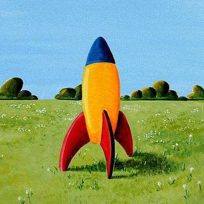 Whimsical. Painting - Lil Rocket by Cindy Thornton
