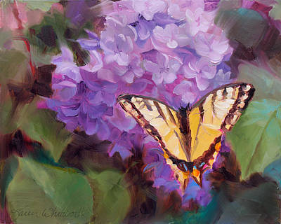 Flower Painting - Lilacs And Swallowtail Butterfly by Karen Whitworth