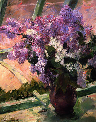 Interior Still Life Painting - Lilacs In A Window by Mountain Dreams