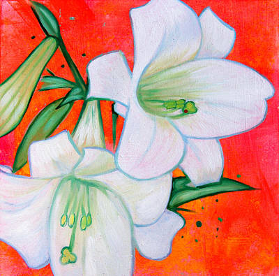 Birght Painting - Lilies No.2 by Emma Caldwell