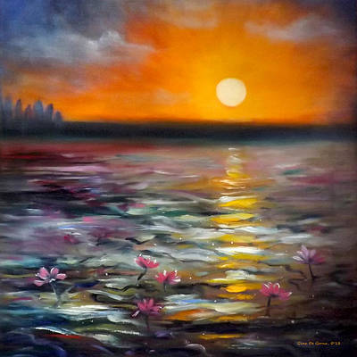 Painting - Lily Sunset by Gina De Gorna