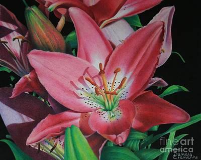 Lily's Garden Art Print by Pamela Clements