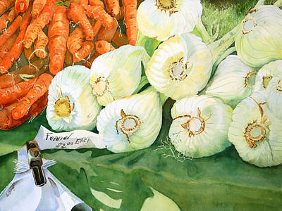 Farm Stand Painting - Lime Light On Fennel  by Nancy LaBerge Muren
