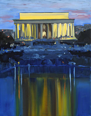 Lincoln Memorial Painting - Lincoln Memorial Twilight by Anne Lewis