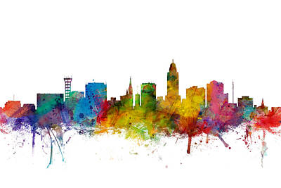 Lincoln Nebraska Skyline Art Print by Michael Tompsett