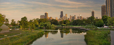 City Sunset Photograph - Lincoln Park Lagoon Chicago by Steve Gadomski