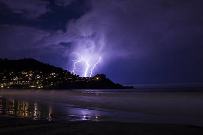 Pacifica Photograph - Lightning Over The Ocean by Bryant Coffey