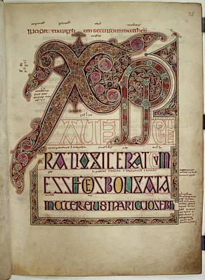 Lindisfarne Photograph - Lindisfarne Gospels by British Library