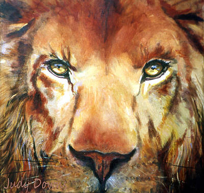 Lion Eyes Art Print by Judy Downs