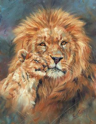 Animals Paintings - Lion Love by David Stribbling