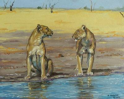 Painting - Lionesses by Robert Teeling