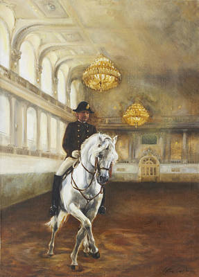 Horse In Action Painting - Lipizzaner Half-pass by Kathryn Dalziel