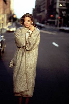 American Car Photograph - Lisa Taylor Wearing A Mohair Coat by Arthur Elgort