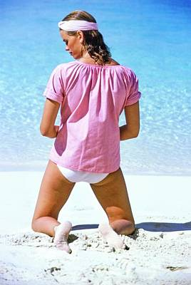 Photograph - Lisa Taylor Wearing A Pink Top by Arthur Elgort