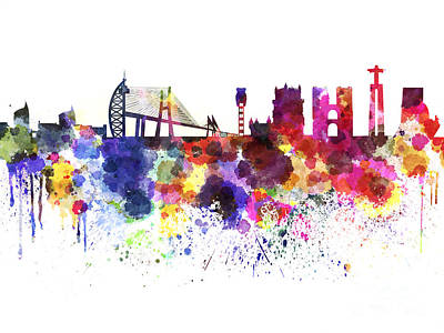 Lisbon Painting - Lisbon Skyline In Watercolor Background by Pablo Romero
