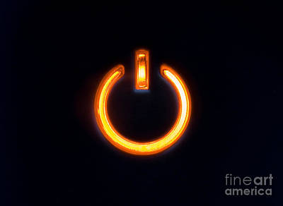 Icon Photograph - Lit Power Button In Orange Color by Jose Elias - Sofia Pereira