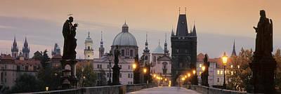 Prague Photograph - Lit Up Bridge At Dusk, Charles Bridge by Panoramic Images