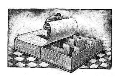 Maze Book Drawing - Literacy by Chris Van Es