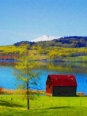 Little Barn By The Lake Art Print by Lenore Senior and Constance Widen
