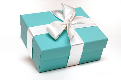 Special Occasion Photograph - Little Blue Gift Box by Amy Cicconi
