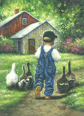 Geese Painting - Little Boy Blue by Vickie Wade