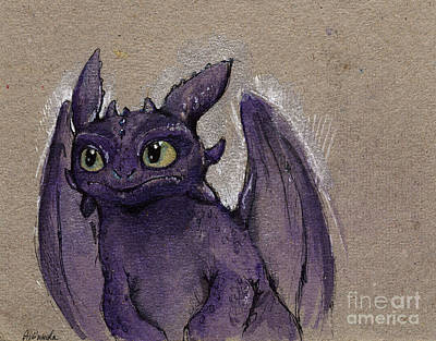 Fury Painting - Little Dragon by Angel  Tarantella