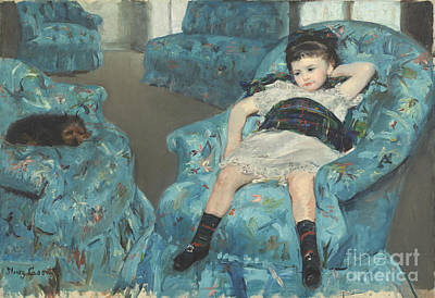 Little Girl In A Blue Armchair Art Print by Celestial Images