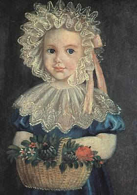 Inc Painting - Little Girl With Flower Basket by Artist Unknown