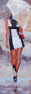 Woman With Black Hair Painting - Little Red Bag Two by Laura Lee Zanghetti