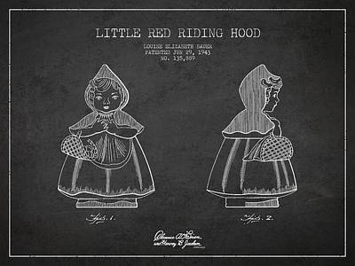 Little Red Riding Hood Digital Art - Little Red Riding Hood Patent Drawing From 1943 by Aged Pixel