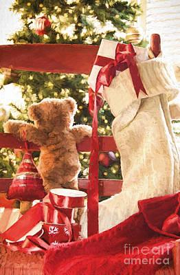 Photograph - Little Teddy Bear Looking Through Chair/ Digital Painting by Sandra Cunningham