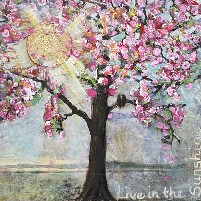 Lovebird Painting - Live In The Sunshine by Blenda Studio