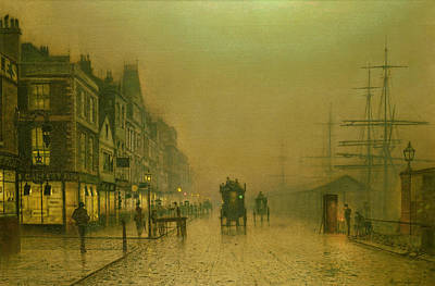 Mist Painting - Liverpool Docks by John Atkinson Grimshaw